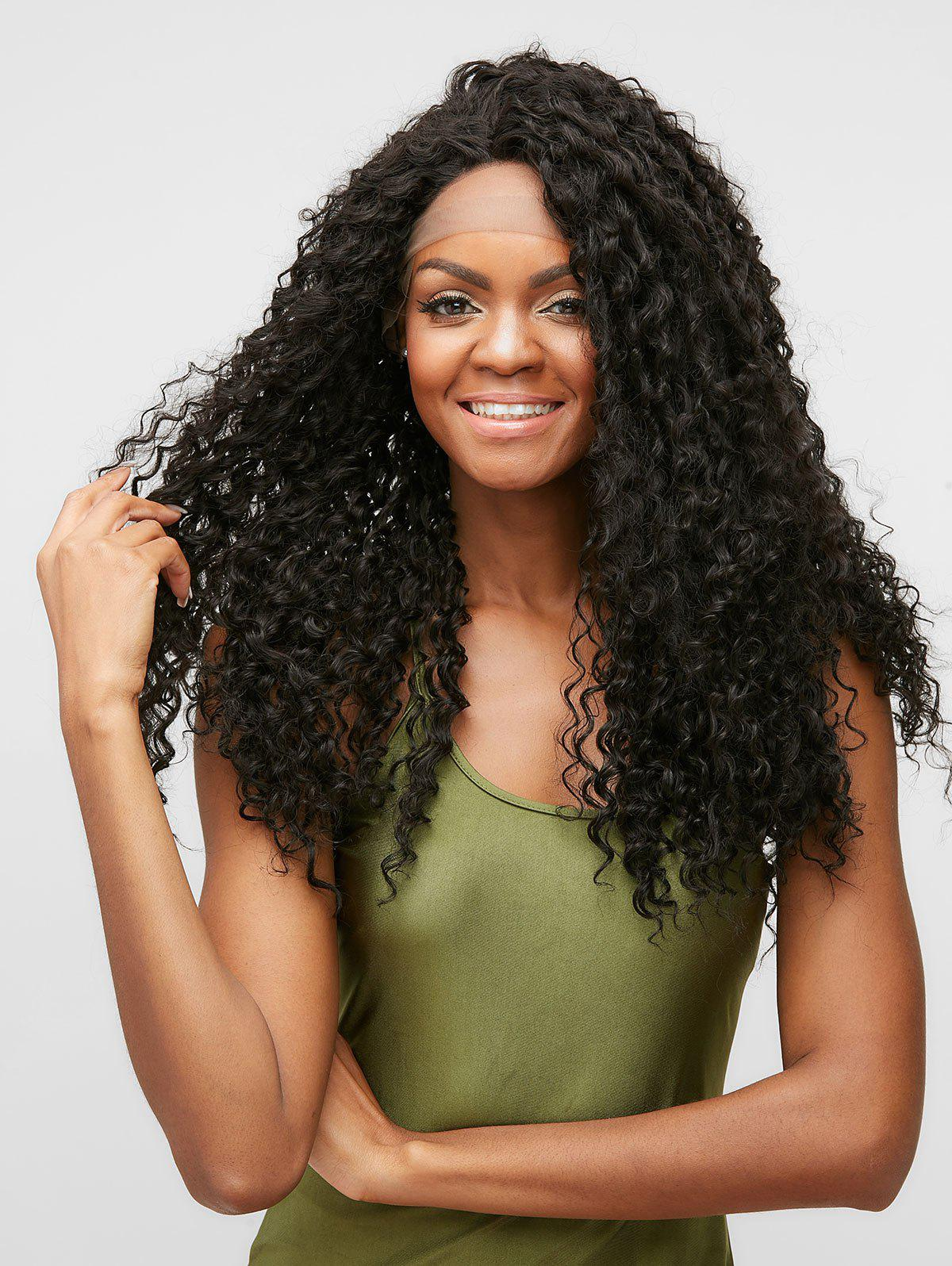 Outfit Long Center Parting Curly Synthetic Lace Front Wig