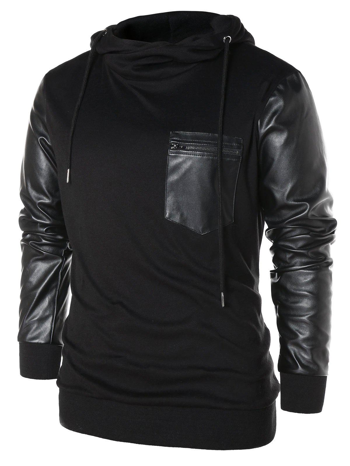 Shops PU Leather Panel Pullover Hoodie
