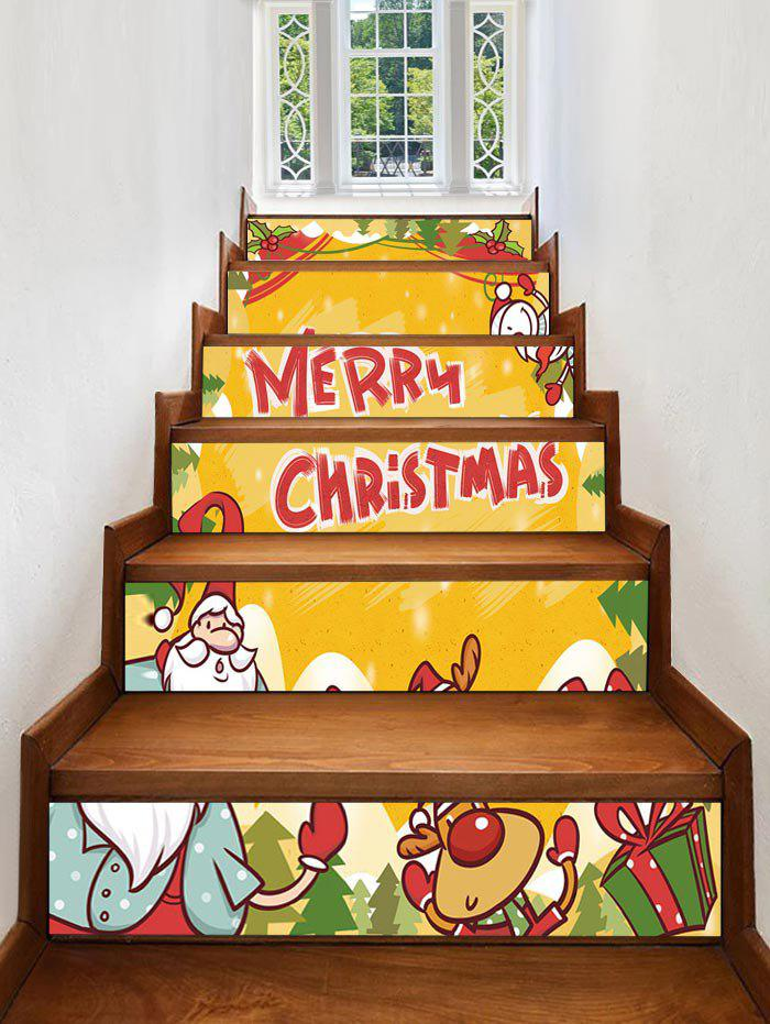 Store Merry Christmas Deer Gift Printed Removable Stair Stickers