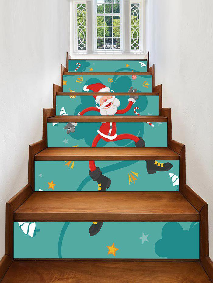 Affordable Father Christmas Star Printed Removable Stair Stickers