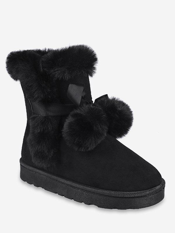 Latest Lacing Ball Faux Fur Suede Snow Boots