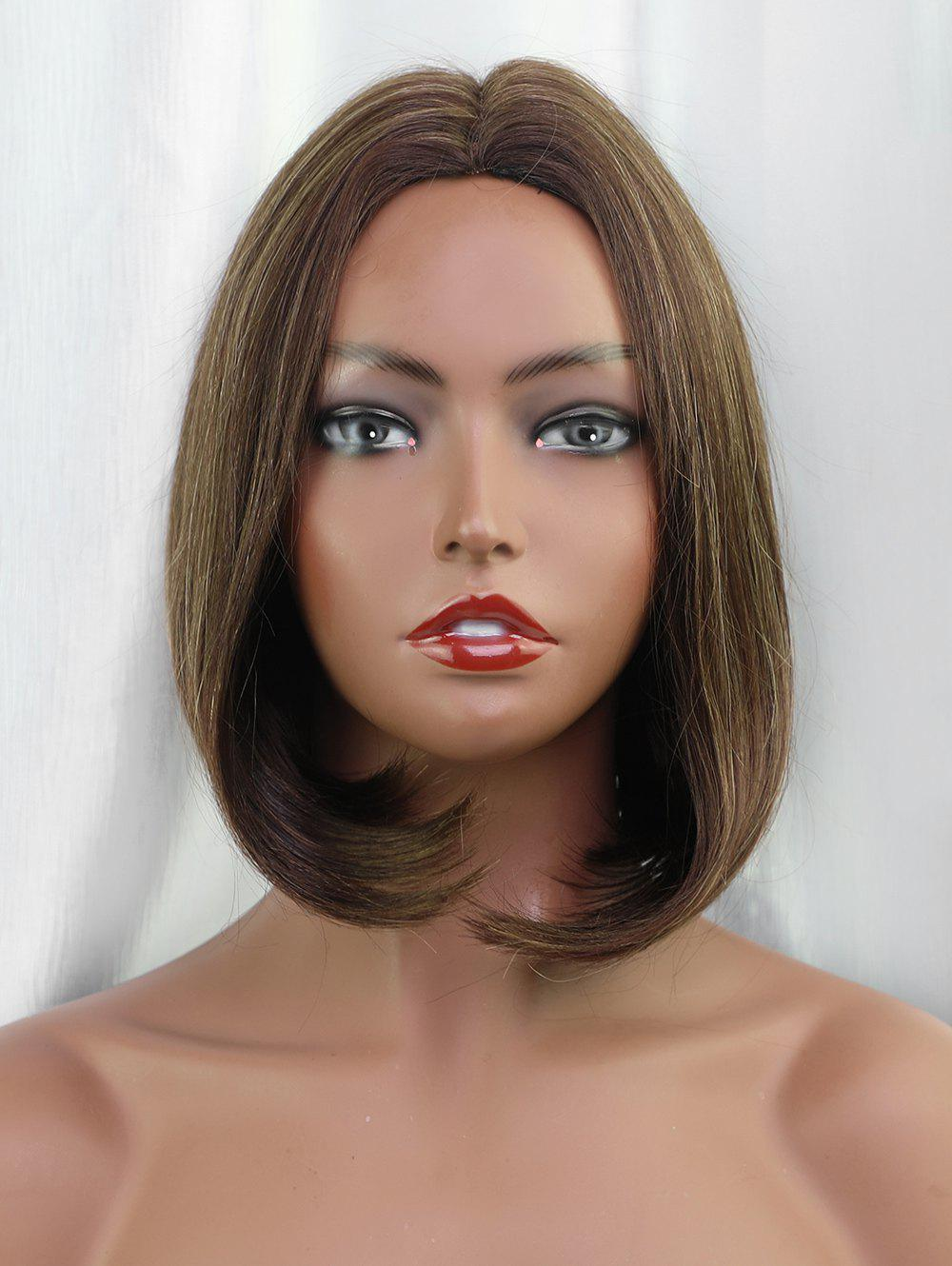 Affordable Middle Part Short Straight Bob Colormix Human Hair Wig