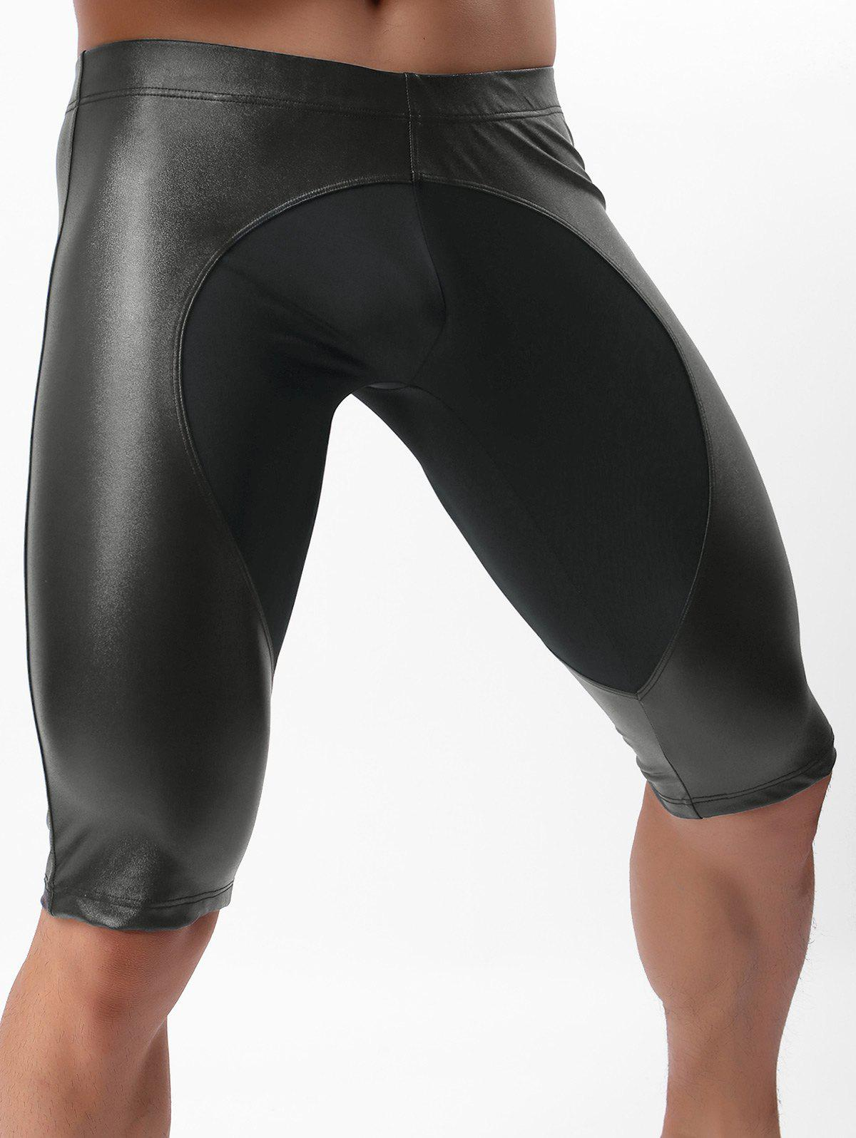 Trendy Faux Leather Sport Fifth Pants
