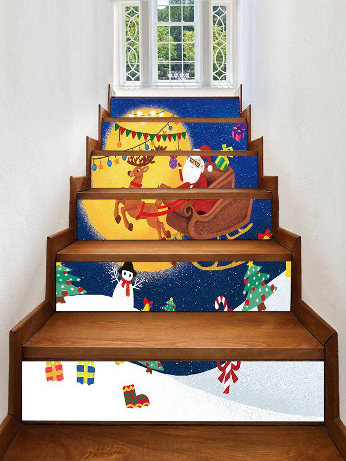 Best Gift Father Christmas Tree Deer Printed Removable Stair Stickers