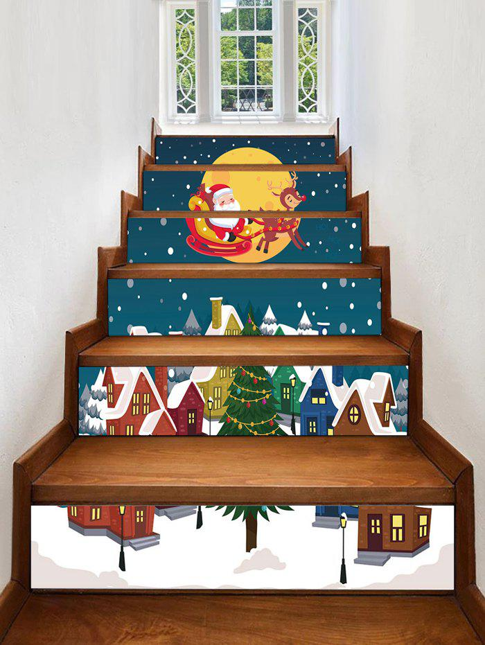 New Father Christmas Tree Deer Removable Stair Stickers