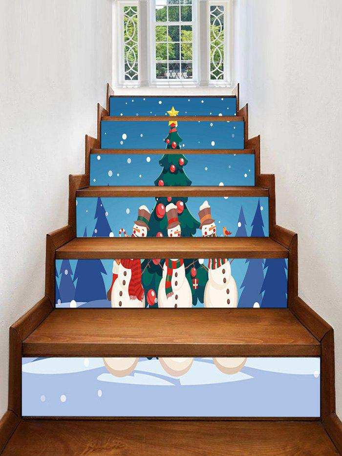 Cheap Christmas Tree Snowman Printed Removable Stair Stickers