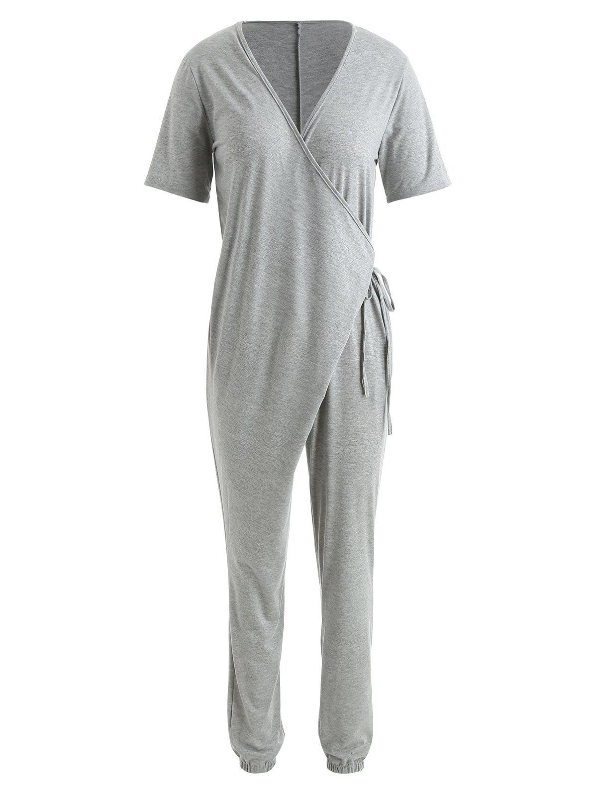 Store Plunge Neck Casual Jumpsuit