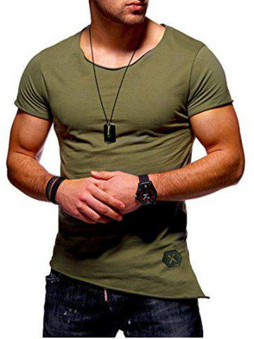 Slim Fit High Low Short Sleeve T-shirt, Army green