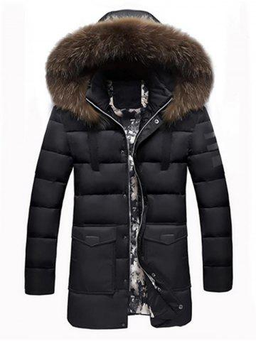 Faux Fur Padded Hooded Longline Coat