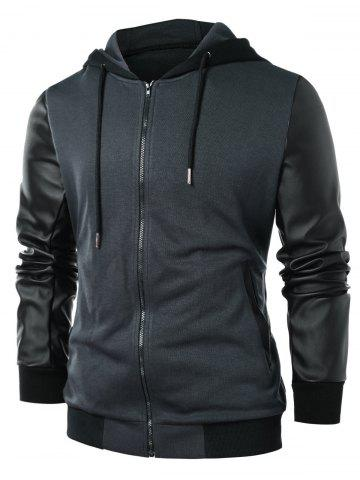 PU Leather Panel Zip Up Hoodie