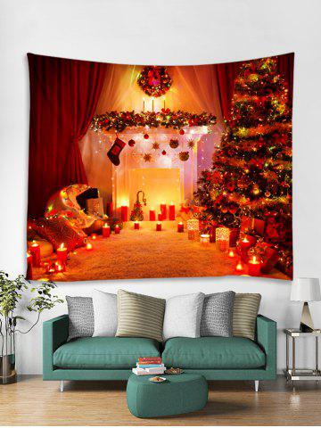 christmas tree candle print tapestry wall hanging decoration