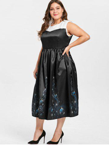 Vintage Plus Size Midi  Christmas Gown Dress