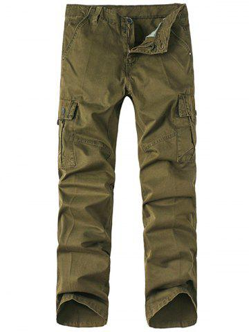 Solid Zip Up Multi Pockets Cargo Pants