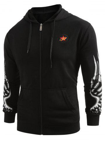 Printed Front Pockets Zip Fly Drawstring Hoodie
