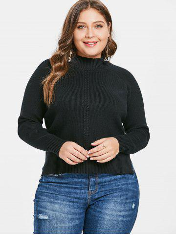 Plus Size Slit Cable Knit Asymmetric Sweater