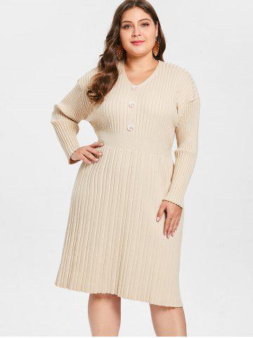 150ff1d9a02 Plus Size Ribbed Sweater Dress with Buttons