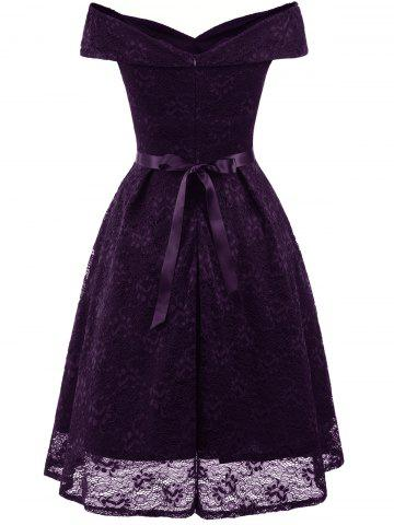 Belted Lace Cocktail Dress