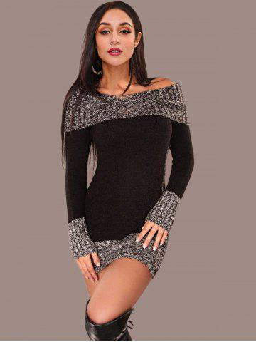 Color Block Boat Neck Knitted Dress