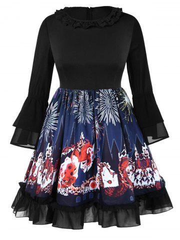 Plus Size Bell Sleeves Graphic Knee Length Halloween Dress