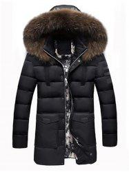 Faux Fur Padded Hooded Longline Coat -