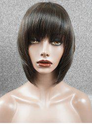 Full Fringe Straight Short Bob Human Hair Wig -
