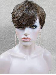 Layered Side Fringe Short Straight Human Hair Wig -