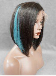 Short Side Fringe Highlight Straight Bob Human Hair Lace Front Wig -