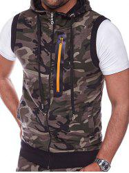 Zip Embellished Camouflage Hooded Vest -