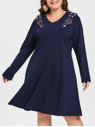 Floral Embroidery Plus Size Long Sleeve Dress -