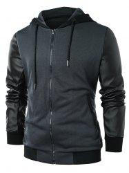 PU Leather Panel Zip Up Hoodie -