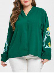 Plus Size Floral Embroidery Long Sleeve Blouse -