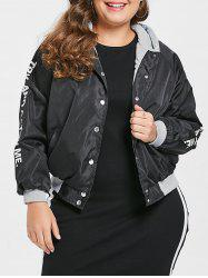 Letter Print Plus Size Hooded Jacket -