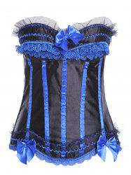 Lace Insert Zip Up Striped Corset -