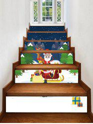 Father Christmas Deer Gift Removable Stair Stickers -