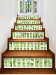 3D Pot Plant Printed Removable Stair Stickers -
