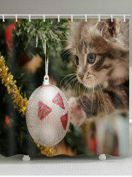 Christmas Ball Cat Print Waterproof Bathroom Shower Curtain -
