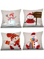 4PCS Snowman Christmas Theme Printed Pillowcases -