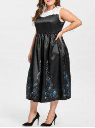 Vintage Plus Size Midi  Christmas Gown Dress -
