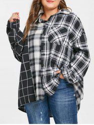 Plus Size Drop Shoulder Tartan Shirt -
