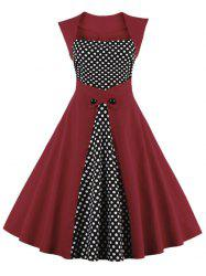 Square Neck Plus Size Polka Dot Panel A Line Dress -