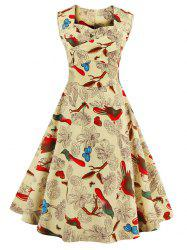 Birds and Floral Print Plus Size Sleeveless Vintage Dress -