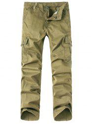 Solid Zip Up Multi Pockets Cargo Pants -