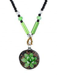 Ethnic Floral Printed Beaded Necklace -