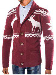 Christmas Deer Shawl Collar Button Up Cardigan -