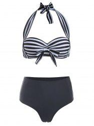 Halter Striped Bowknot Bikini Set -