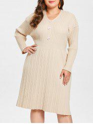Plus Size Ribbed Sweater Dress with Buttons -