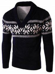 Winter Snowflake Shawl Collar Sweater -