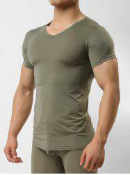 Ultrathin Solid Color Short Sleeves T-shirt -