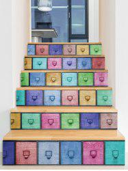 Boxes Pattern 3D Stair Stickers -