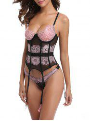 See Through Lace Insert Mesh Corset -